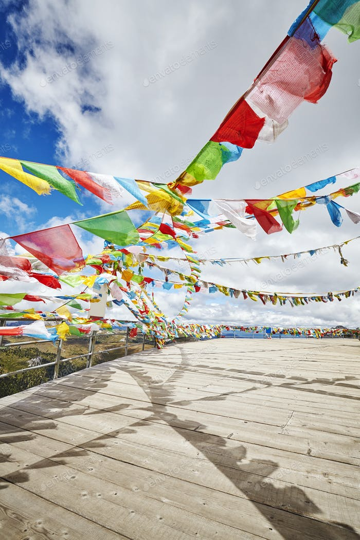 Buddhist prayer flags, Shika Snow Mountain area, China.