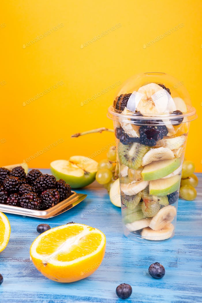 Platic cup with fruits salad mix