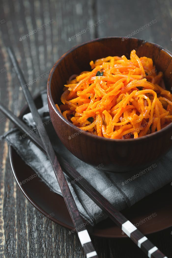 Carrots in Korean with spices and chopsticks