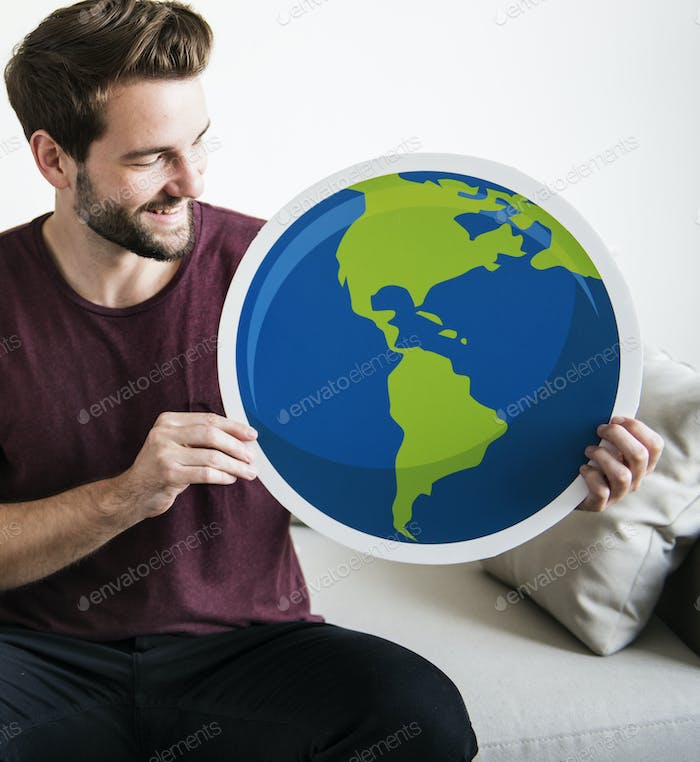 White man holding globe icon