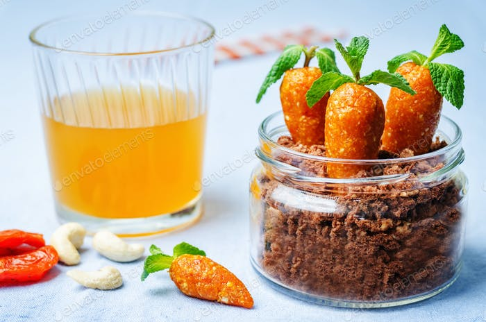 chocolate biscuit in a jar and dried apricots cashew candies in