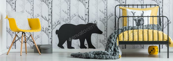 Kid's bedroom with bear sticker