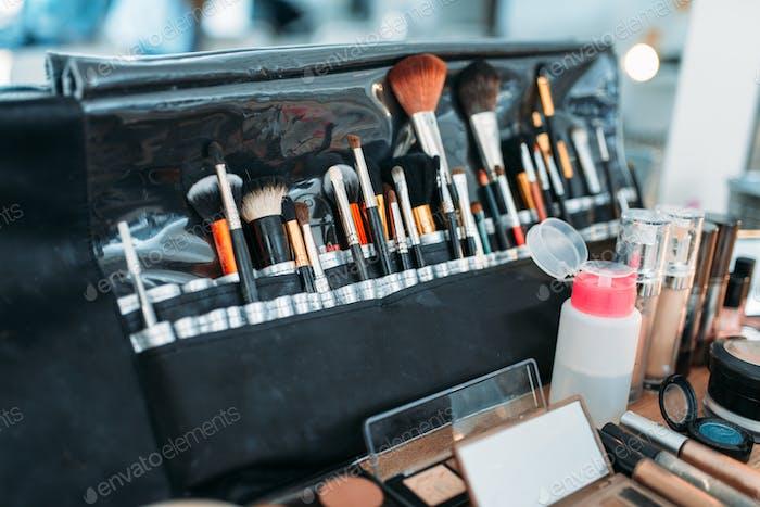 Professional makeup artist cosmetics tools closeup