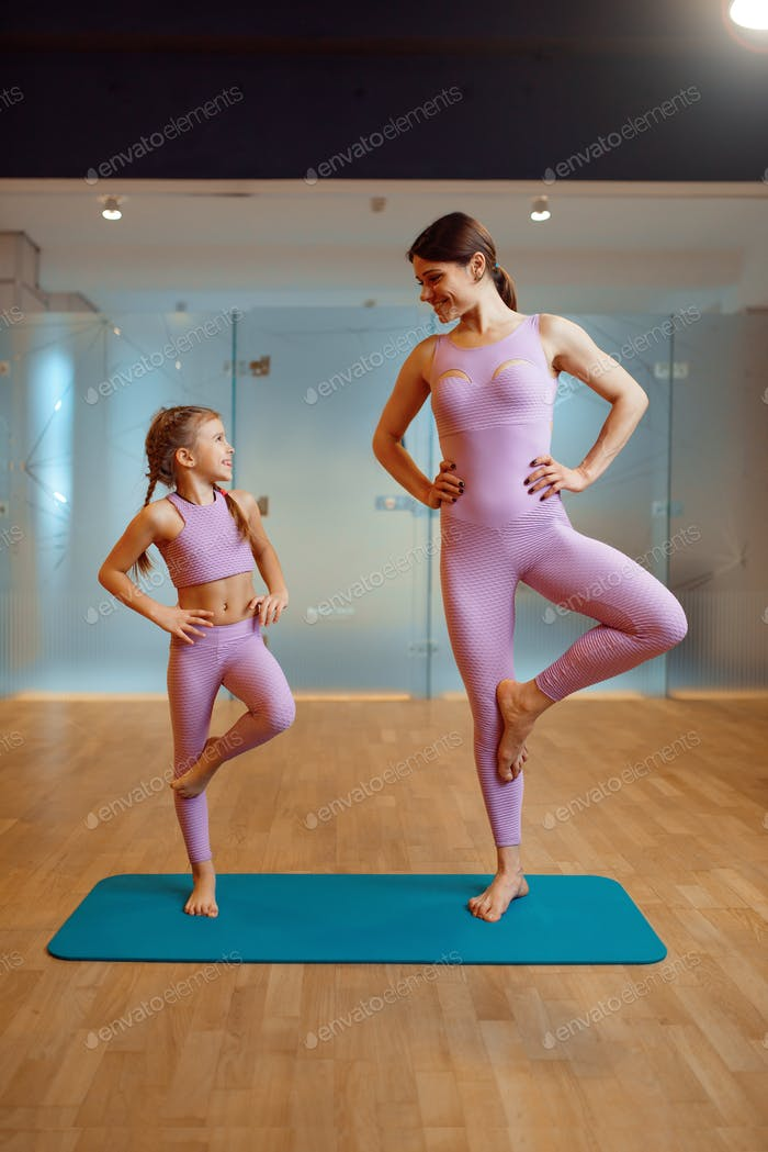 Mother and daughter doing exercise in gym
