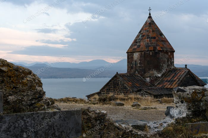 Mountains, Lake Sevan, Sevanavank Monastery in Armenia