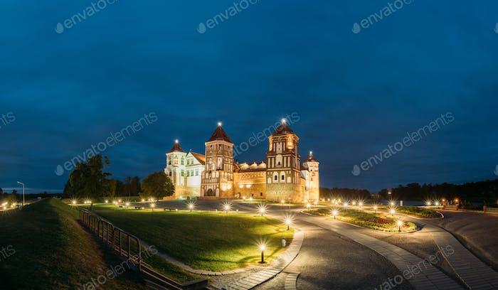 Mir, Belarus. Mir Castle Complex In Evening Illumination Lightin