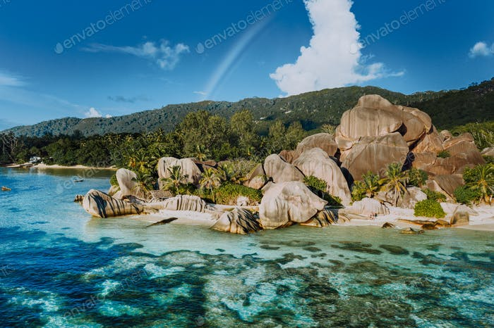 The most beautiful Anse Source D'Argent tropical beach, La Digue Seychelles. Luxury exotic