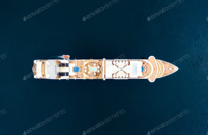 Air view of the cruise liner from the air