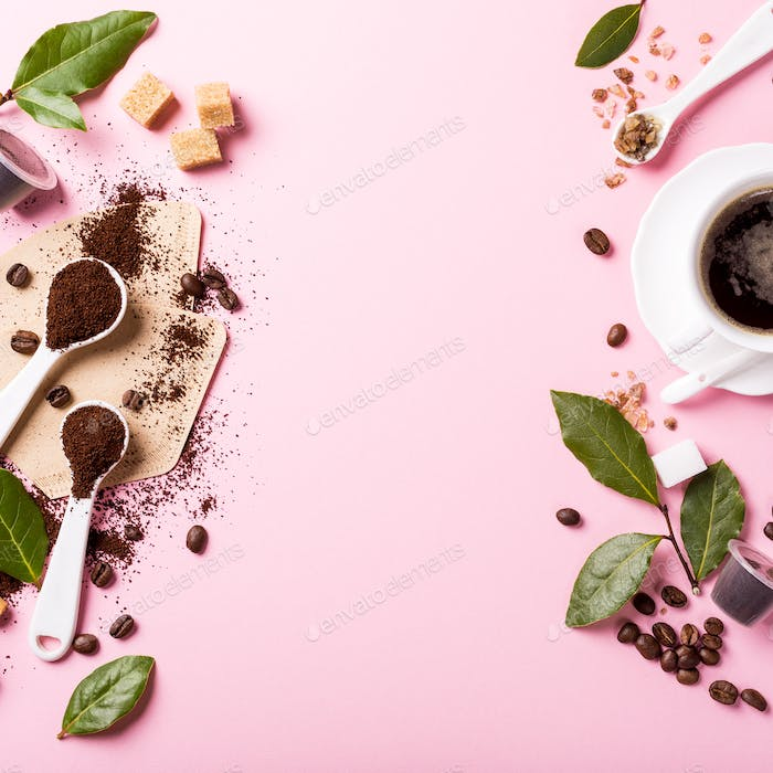 Food background with assorted coffee