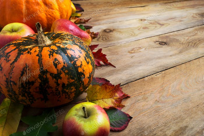 Fall decor with pumpkin, apples, copy space