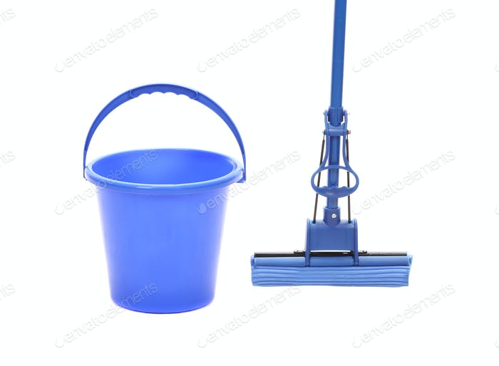Blue bucket with sponge mop