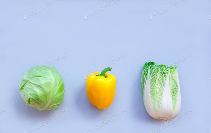 fresh local vegetables on a blue background