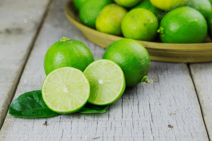 Fresh lime on wooden