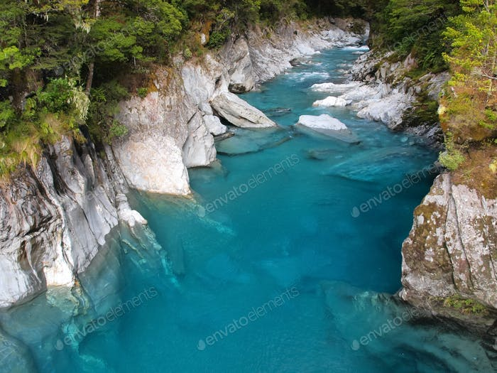 Beautiful Clear Blue Water at Haast Pass, New Zealand