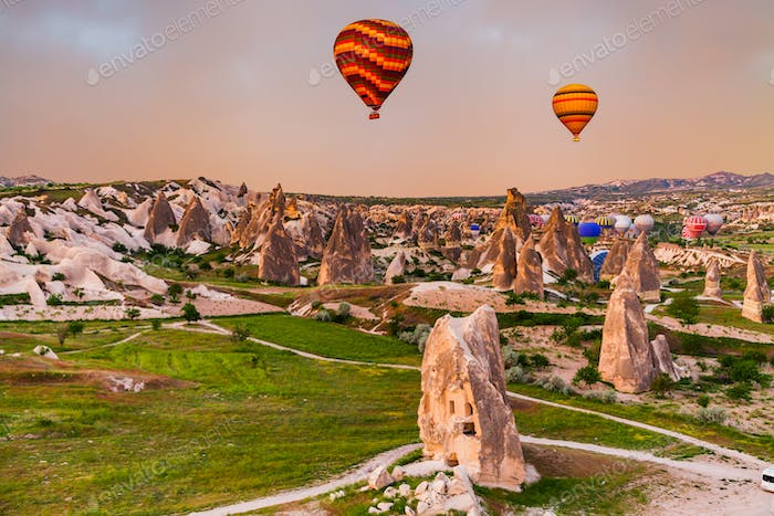 Hot air Balloons at sunrise in Cappadocia, Turkey
