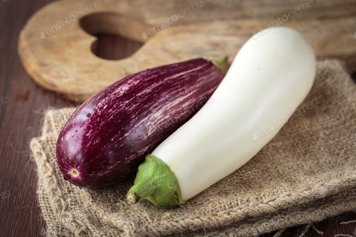 Fresh raw eggplants