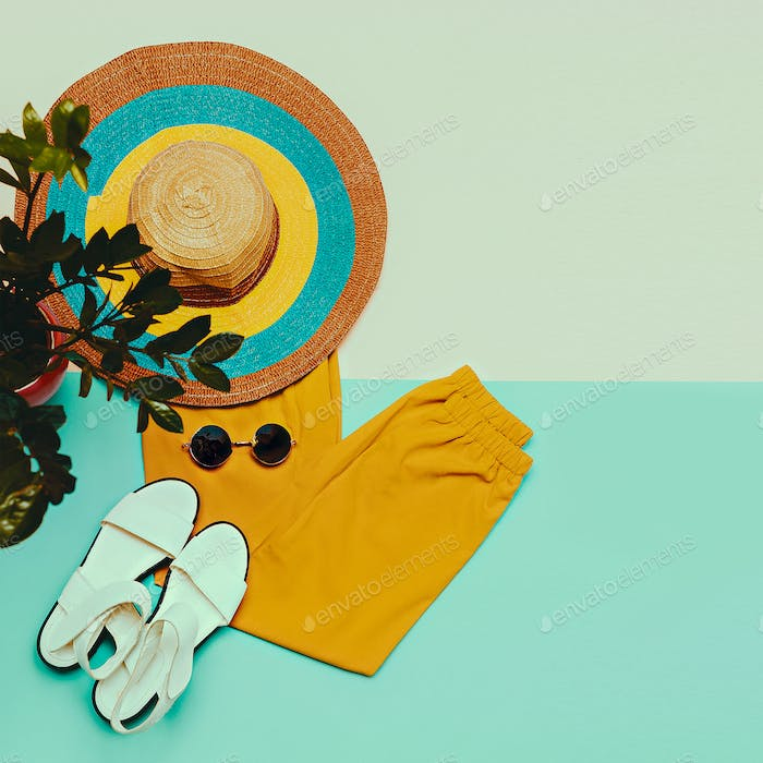 Trousers sandals Hat Sunglasses Summer outfit Trend