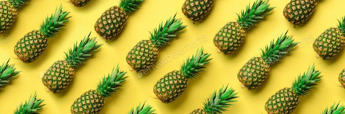 Chaotic pineapple pattern for minimal style. Top View. Pop art design, creative concept. Copy Space