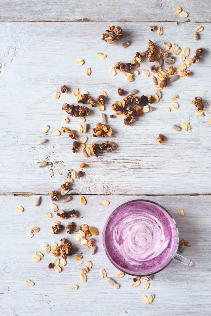 Berry farm yogurt in a jar and a granola
