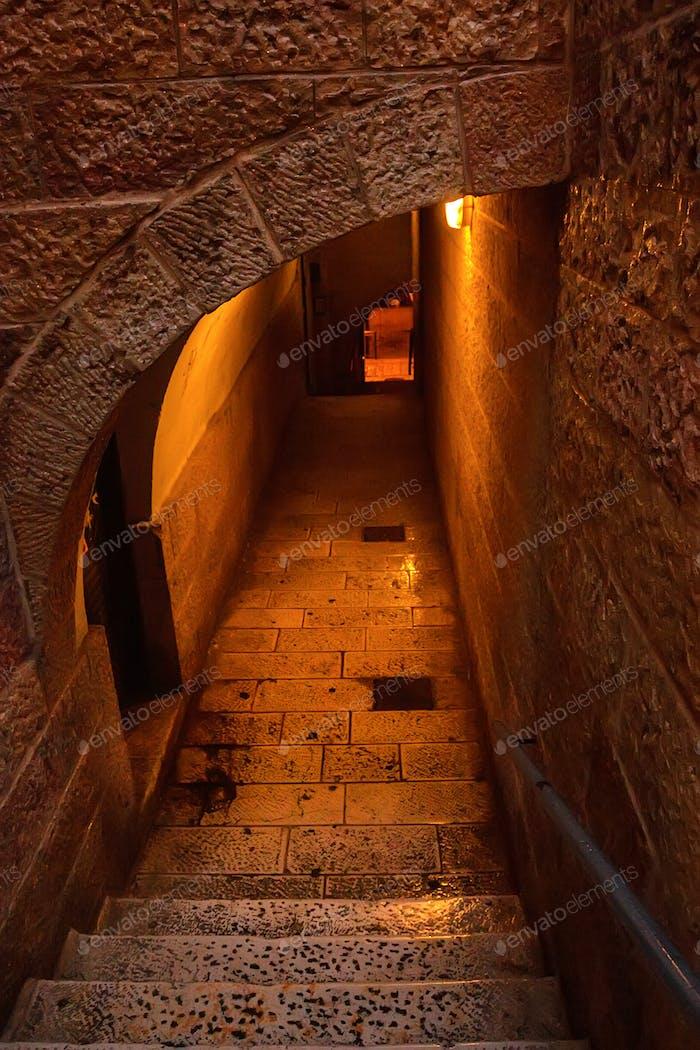 Narrow street of Jerusalem at night