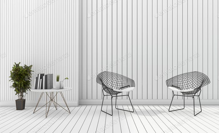 3d rendering white minimal modern design chair with table
