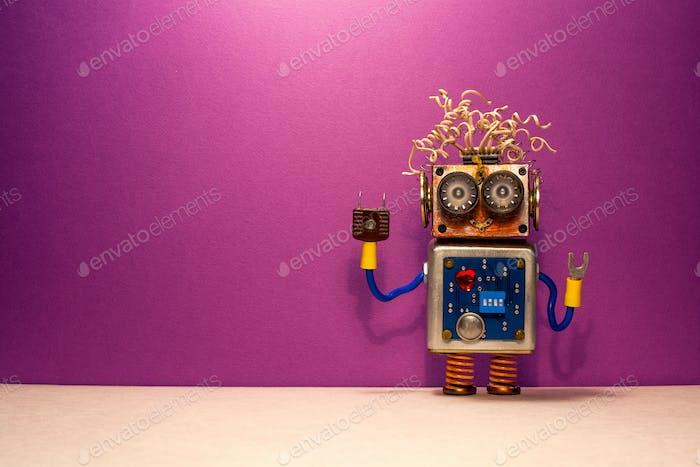 Juguete robótico steampunk divertido sobre fondo púrpura