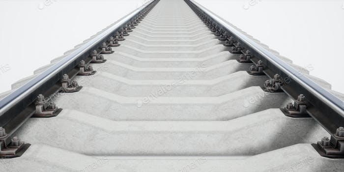 Single rail isolted on white background. 3d rendering
