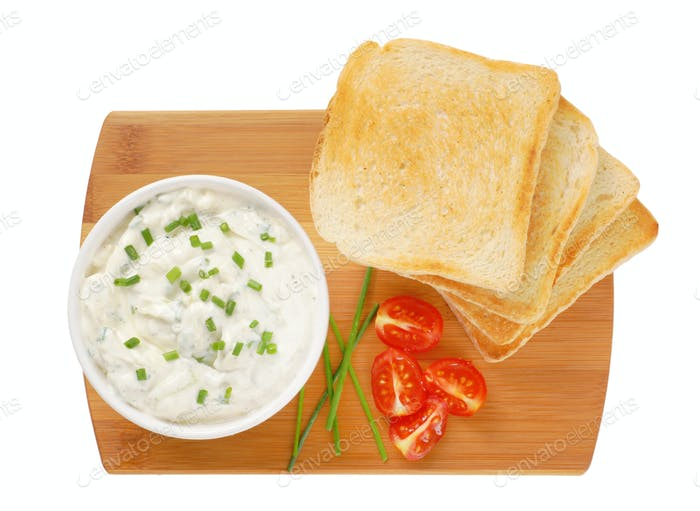 toasted bread and chives spread