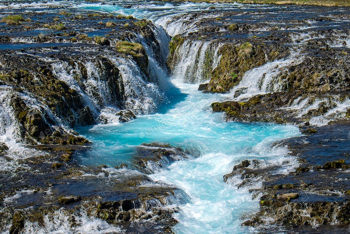 The beautiful Bruarfoss waterfall