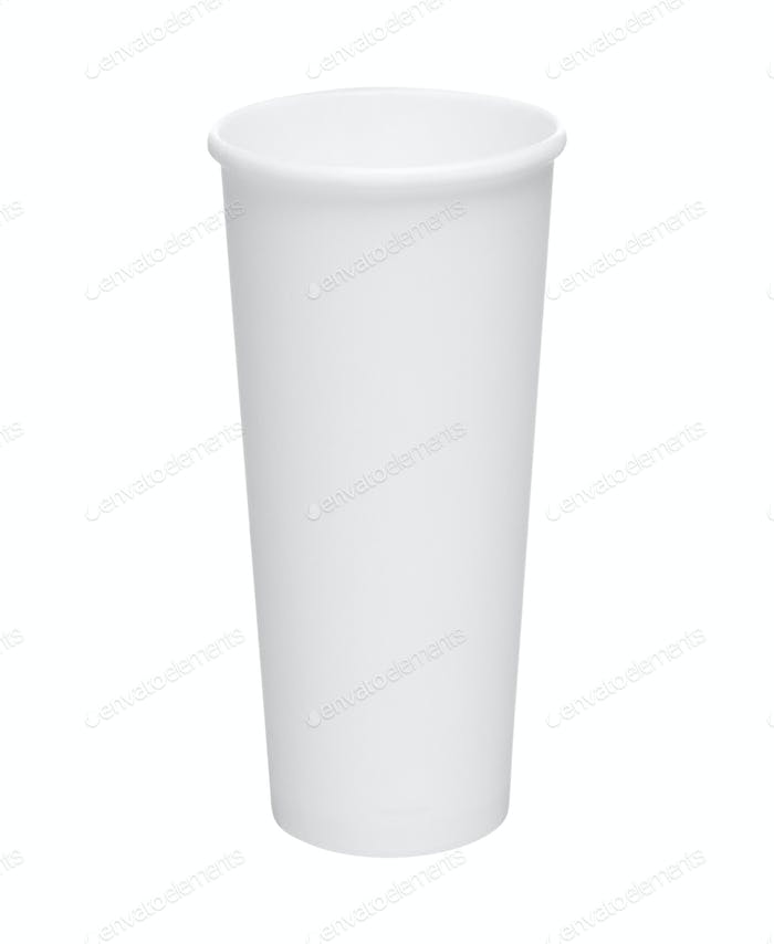 Empty white paper cup isolated on white