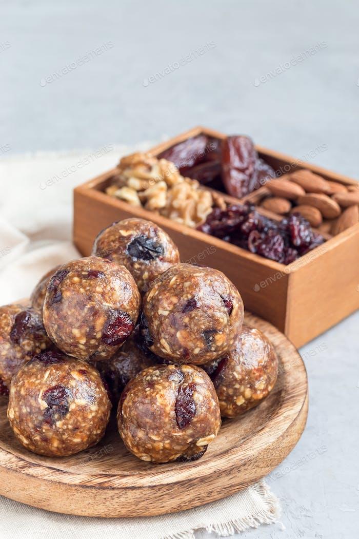 Healthy homemade energy balls, vertical, copy space