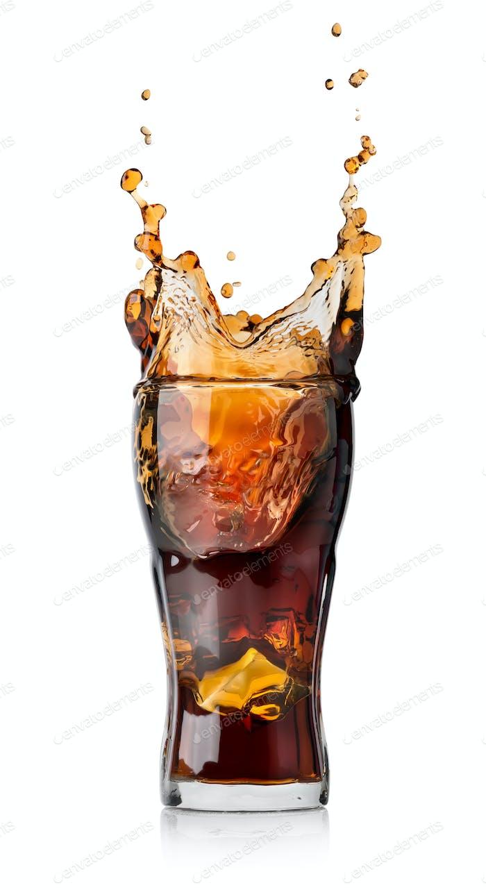 Cola drink with splash