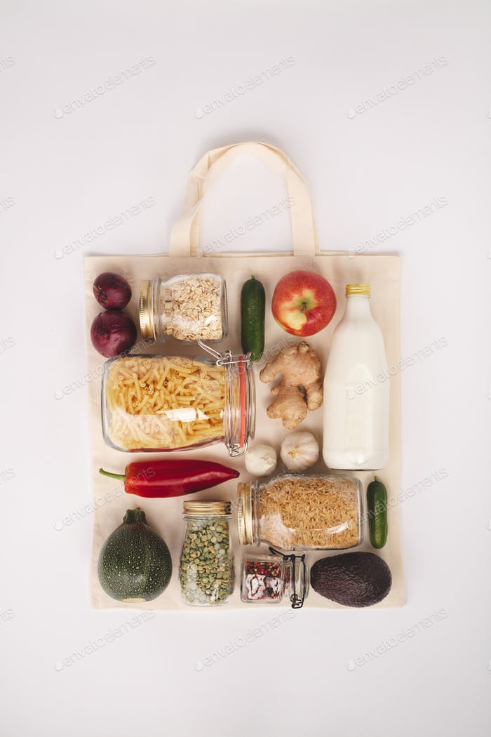Zero waste shopping concept, flat lay, top view