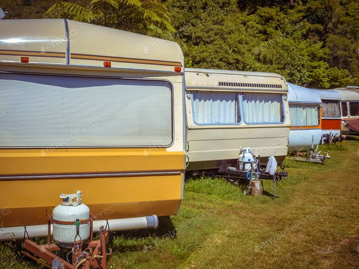 Vintage Caravans in a Row