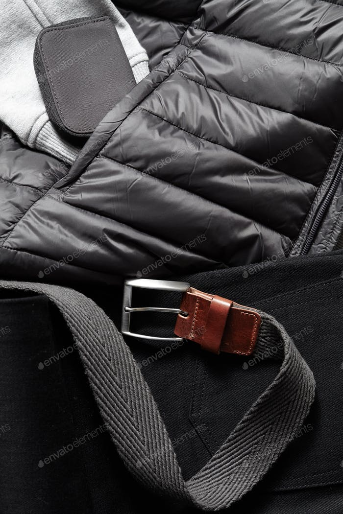 black belt on a winter jacket