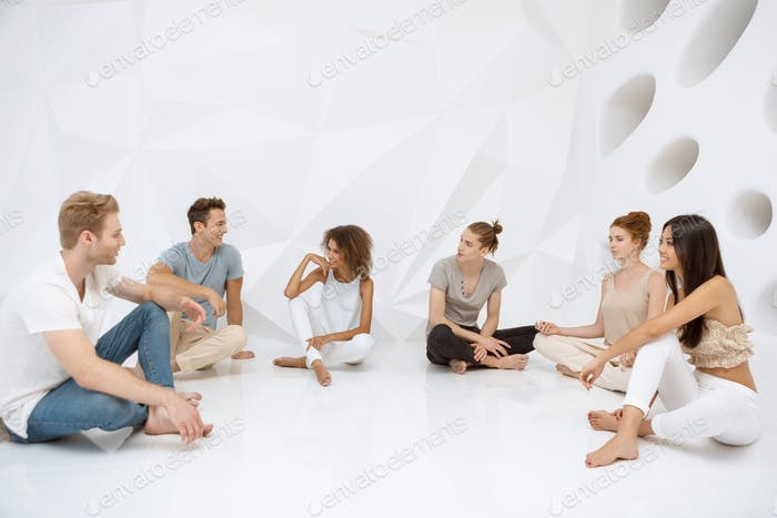 Groups of different people sitting and talking together. Social concept