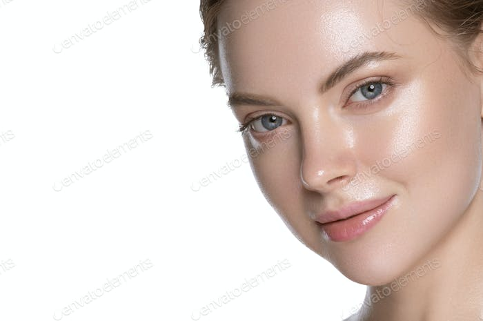 Glamour close up view young woman healthy hydration clean skin face. Isolated on white.