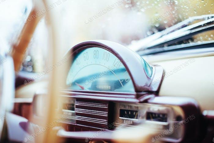 Closeup windshield in the rain Volga car