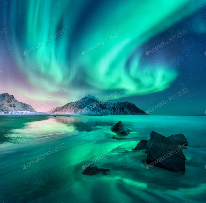 Aurora. Nothern lights in Lofoten islands, Norway
