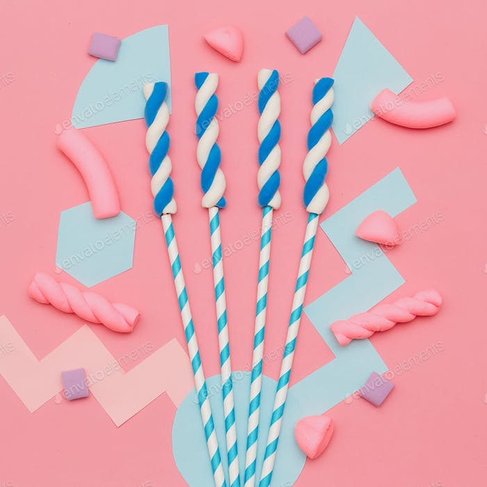 Marshmallow Mix. Sweet lover. Pink Candy flatlay