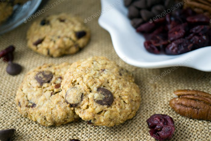 Homemade cranberry, nut and oat cookie