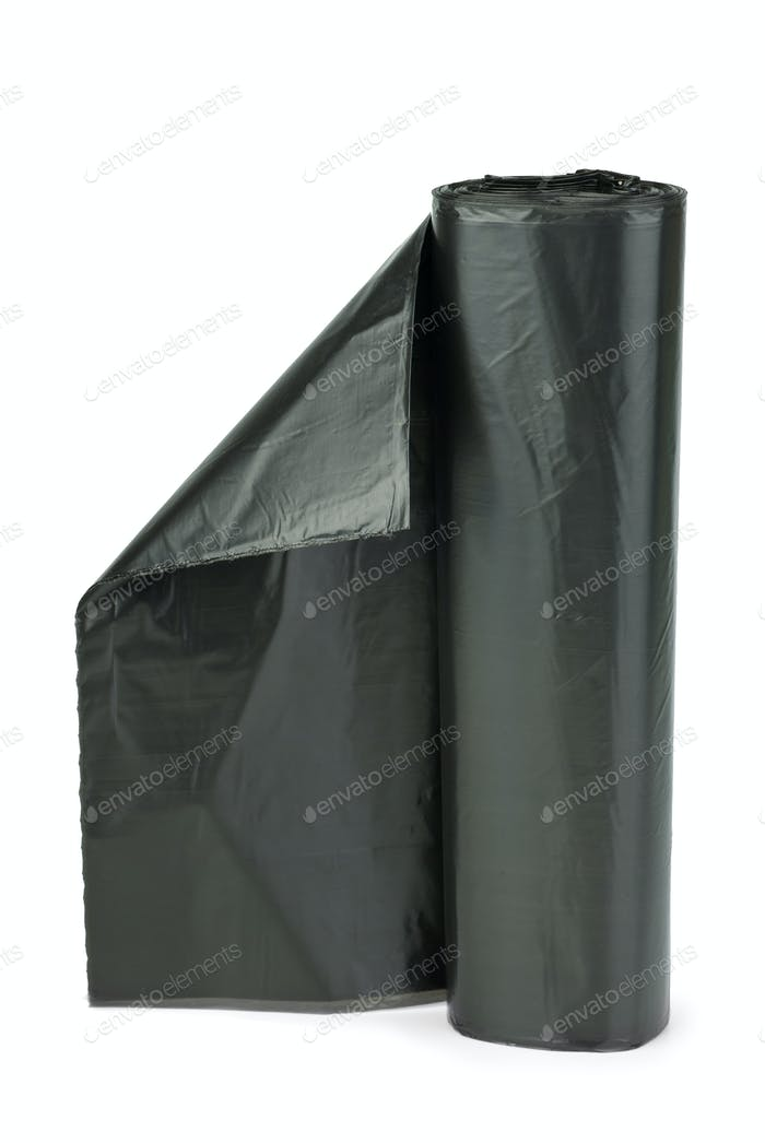 Rolle von schwarzen Plastikmüllsäcken