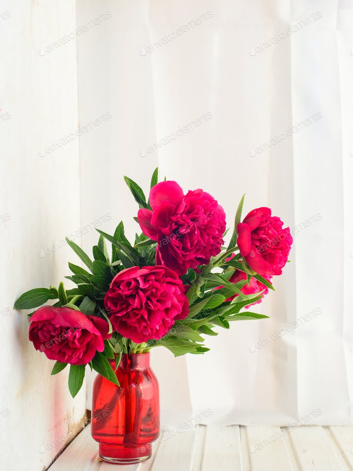 spring-summer concept, a red peony bouquet on a white background with copyspace