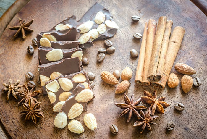Chocolate pieces with spice, cinnamon and anise
