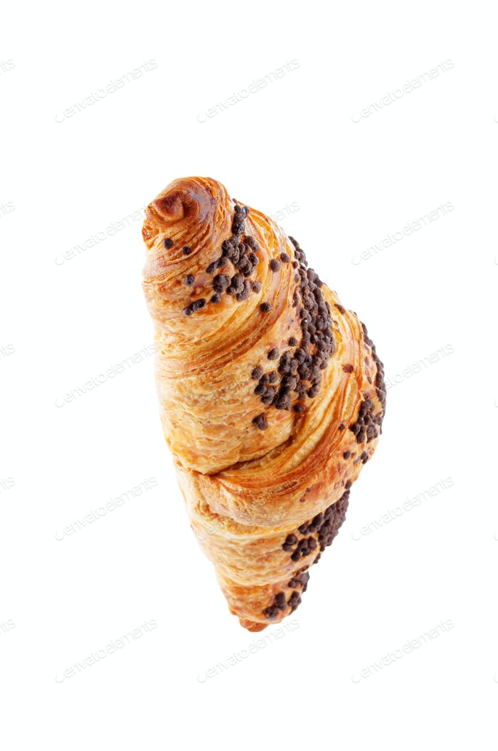 Chocolate croissants with chocolate sprinkles isolated