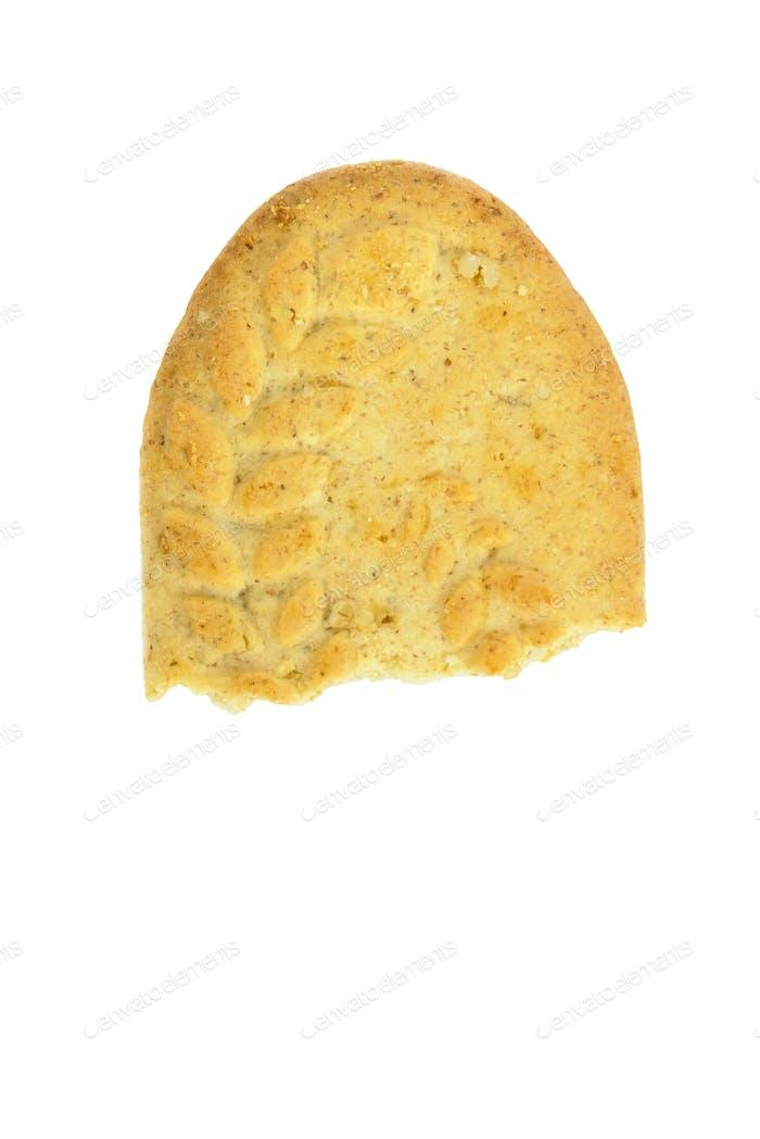 Half eaten biscuit on white background
