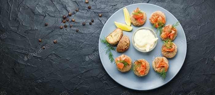 Cod roe cutlets.