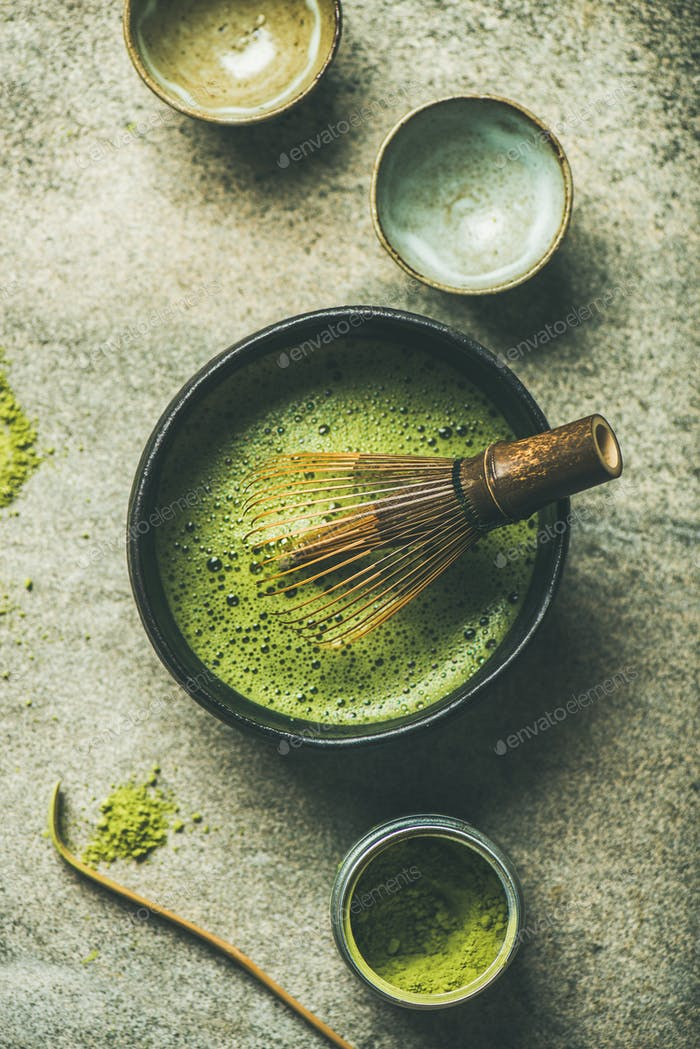 Matcha powder, Chashaku spoon, Chasen bamboo whisk, Chawan bowl, cups