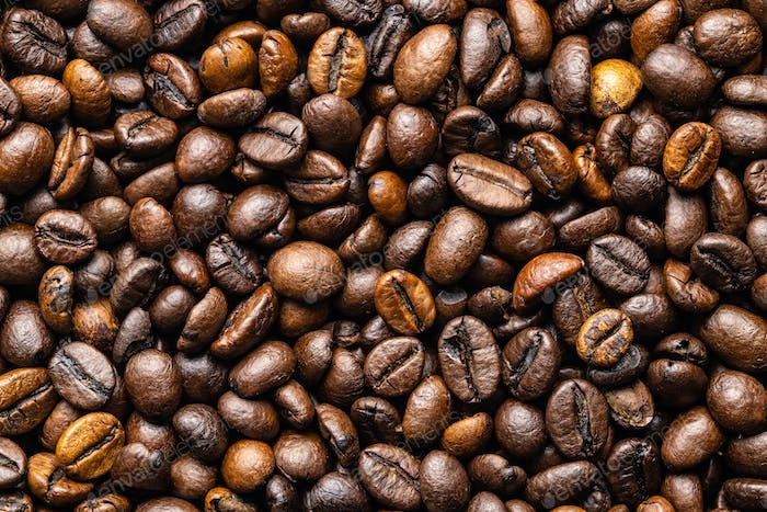 Mixed coffee beans. Arabica and robusta.