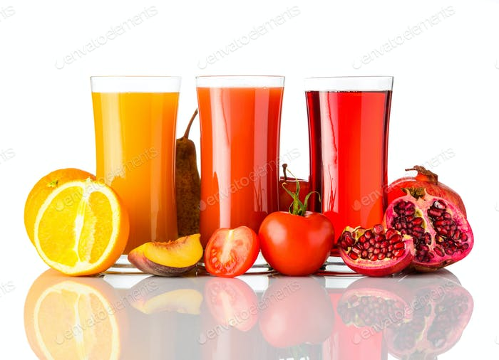 Natural Fruit Juice Drink Isolated on White Background